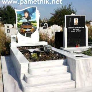 Надгробен паметник от мрамор с триплекс МОДЕЛ 8
