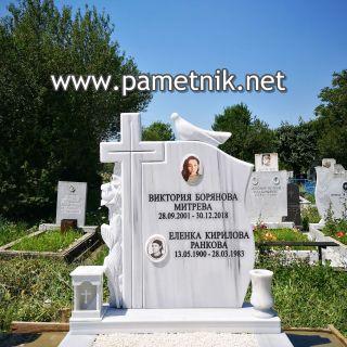 """Надгробен паметник от мрамор """"Модел 665"""" с гълъб"""